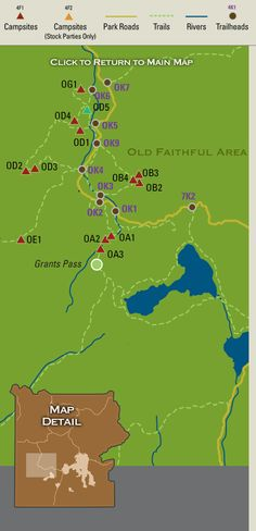 Map showing backcountry campsites in the Old Faithful region of Yellowstone National Park.