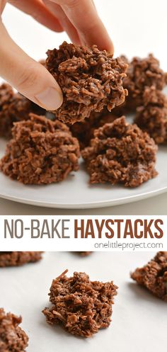 No-Bake Chocolate Haystacks Cookies This is such an awesome kid friendly snack recipe to make with the kids! Loaded with oats and coconut they make an excellent after school snack! Baking Recipes, Cookie Recipes, Snack Recipes, Dessert Recipes, Desserts, No Bake Cookie Recipe, Bake Goods Recipes, Easy Kids Recipes, Baking Snacks