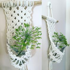 Various macrame vase huggers. Perfect to brighten up a room with some freshly cut flowers. Vase/bowl not included. Macrame Design, Macrame Art, Macrame Projects, Macrame Knots, Macrame Hanging Planter, Macrame Plant Holder, Hanging Plants, Diy And Crafts, Arts And Crafts
