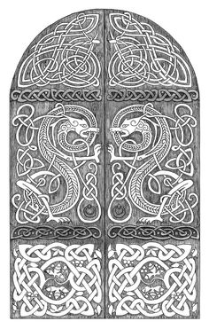 Dragons door by mossy-tree on DeviantArt Viking Decor, Viking Art, Celtic Patterns, Celtic Designs, Islamic Patterns, Celtic Tattoos, Viking Tattoos, Dragon Viking, Celtic Dragon