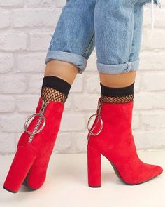 Solid Pointed Toe Zipper Back Ankle Boots High Quality Spring/Autumn Botas Mujer Party Booties Shoes Woman Plus Size High Heel Boots, Heeled Boots, Bootie Boots, Shoe Boots, Ankle Boots, High Heels, Shoes Heels, Dress Shoes, Sock Shoes