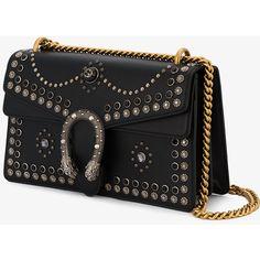 Gucci Dionysus Studded Shoulder Bag (10 285 PLN) ❤ liked on Polyvore featuring bags, handbags, shoulder bags, studded purse, gucci handbags, leather purses, floral handbags and zip shoulder bag