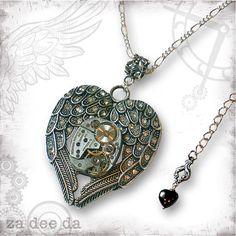 Winged Heart Steampunk Necklace  Za Dee Da  The Time by zadeeda, $47.00