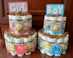 Shabby Chic Diaper Cake/ Burlap Diaper Cake/ Lace and Burlap/ Twin Baby/ It's a Boy/ It's a Girl/ Diaper cakes/ 2 tier diaper cake/ by LittleOrchidStudio