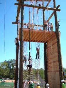 Adventure Ropes Course Climbing challenge tower in use