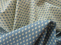 Blue & Cream Hearts Fabric  in 100% Cotton Poplin.  2 coordinating designs. For Quilting, Dressmaking, Soft Furnishings, Crafts etc. by BobBobBobbin on Etsy
