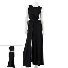 Black dress with white or red flowers. Pin open sides or use a wide ribbon around waist.