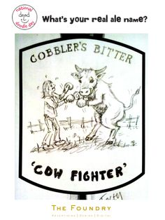No animals were hurt during the drawing of this doodle by our Tracey 'Cobbler's Bitter Cow Fighter' beer label #doodle #Beer