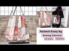 Quilted Patchwork tote Bag Sewing Tutorial With Pockets Fabric Purses, Fabric Bags, Tote Pattern, Bag Patterns, Tote Tutorial, Sewing Tutorials, Bag Tutorials, Sewing Studio, Quilted Bag