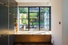 Bespoke Plywood Kitchen Window Seat by Uncommon Projects Open Plan Kitchen Diner, Open Plan Kitchen Living Room, Kitchen Layout, Window Seat Kitchen, Window Seat Storage, Plywood Kitchen, Kitchen Benches, Modern Storage Bench, Crittal Doors