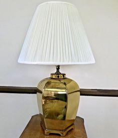 Vintage Hollywood Regency Gold Porcelain Ginger Jar Table Lamp Chinoiserie  | eBay