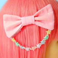 Fairy Kei Hair Bows Pastel Pink Sweet Lolita Hair Accessories For Girls Teens Women Plastic Pastel Stars White Glass Pearls Kawaii Accessories, Kawaii Jewelry, Girls Hair Accessories, Fashion Accessories, Jewelry Accessories, Pastel Pink Hair, Pink Hair Bows, Pastel Goth, Kawaii Hairstyles
