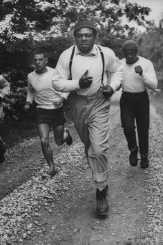 Boxer Archie Moore,training in style - 1955.