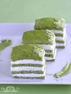 Green Tea & Almond Layer Cake With Whipped Cream Filling