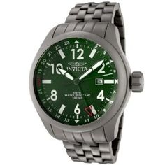 Invicta Men's 0193 Force Collection GMT Green Dial Matte Grey Stainless Steel Watch (Watch)  #invicta
