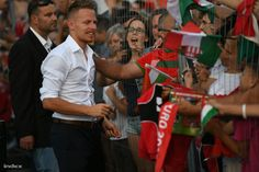 Balázs Dzsudzsák celebrates with fans in Budapest after Euro2016
