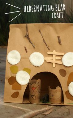 Preschool Science- Easy and fun hibernating bear craft!  Great way to teach kids about nature!