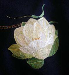 Another silk thread lotus on antique Japanese silk