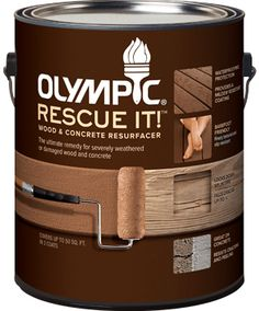 """Olympicsup®/sup RESCUE IT!™ Wood and Concrete Resurfacer-- Fills wood and concrete splits and cracks up to 1/4"""" deep, and locks down splinters on weathered wood. (Deck, Basement, Garage, etc)"""