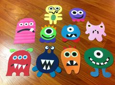 Monster flannelboard set inspired by those found via http://niftythriftythriving.blogspot.com/2010/08/felt-monsters.html
