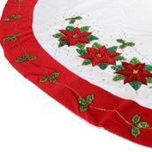 """56"""" White Tree Skirt with Poinsettia Design"""