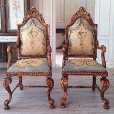 Trompe l' oeil painted chairs SOLD SEPARATELY by MaritzaMiniatures