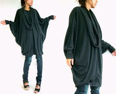 Women Black Cotton Boho Oversized T-Shirt Tunic Dress Top on Etsy, $55.00