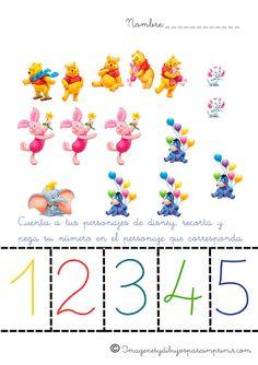 Aprender los números con disney-Imagenes y dibujos para imprimir