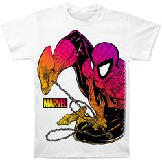 Spider-Man Chromatic Soft Fited Cotton Tee White by DrasticPlasticMerch Cotton Shorts, Cotton Tee, Comic Art, Comic Books, V Neck Tank Top, Retro Outfits, Mens Tops, T Shirt, Subway Art