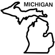 Image Result For Printable Outline Of Michigan Michigan Outline Map Of Michigan State Outline