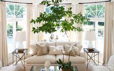 M. Frederick - living rooms - living room bay window, bay window living room, floor to ceiling curtains, cream curtains, cream drapes, cream...