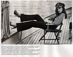 Coco Chanel Navy striped shirt and navy-style suit