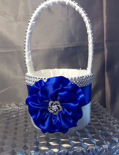 Flower Girl Basket with Royal Blue Flower and Rhinestone Mesh handle and Trim