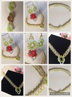 Schmuckset 11  bestehend aus Collier,  Armbanduhr  und Ohrringen, plus Schmucketui, Farbe Champagner im Format 18cm x 18 cm   Erhältlich in meinem Etsy - Shop