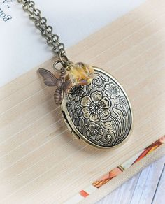 Bee Locket Necklace Jewelry Mothers Day Gift Bee by LimonBijoux