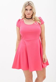 """Forever 21+ - Perfect for a sunny day brunch with the girls, this matelassé skater dress features a cutout back with puffed short sleeves.  Unlined Lightweight knit 100% polyester 38"""" full length, 40"""" chest, 35"""" waist, 6"""" sleeve length Measured from 1X Hand wash cold Imported Model Info: : Height: 5'9"""" 