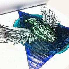 triangle wings grenade - tattoo sketch new school