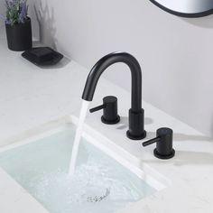 Matte Black Bathroom Faucet, Best Bathroom Faucets, Widespread Bathroom Faucet, Bathroom Fixtures, Condo Bathroom, Kitchen Faucets, Hall Bathroom, Basement Bathroom, Master Bathroom