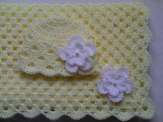 Crochet Baby Blanket and Baby Hat Set Gift Christening Baptism Girl baby beanie cream white flower afghan on Etsy, $40.00