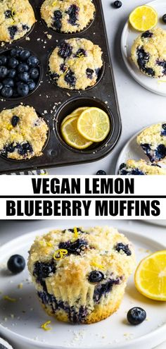 These Lemon Blueberry Muffins combine the juicy sweetness of blueberries with tangy notes of fresh lemon zest. They have a tender crumb with a lemon-sugar crusted topping and they are done in no time! Lemon Blueberry Muffins, Blueberry Desserts, Vegan Blueberry, Blue Berry Muffins, Vegan Dessert Recipes, Vegan Breakfast Recipes, Baking Recipes, Delicious Desserts, Vegan Treats