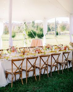 This sweet backyard wedding with a romantic flower aisle ceremony has us walking on sunshine with its bright yellow, green and pink color palette, pear-filled reception decor and wildflower cake. Whimsical design details abound from start to finish, so head to Ruffled now to check it out! Forest Wedding Reception, Tent Reception, Rooftop Wedding, Luxe Wedding, Ballroom Wedding, Wedding Reception Decorations, Wedding Tables, Wildflower Cake, Cozy Backyard