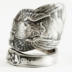 Phoenix Rising Ring, Large Sterling Silver Spoon Ring, Handmade Jewelry, Phoenix Wings, Pheonix, Gift for Him or Her, Adjustable Ring Size