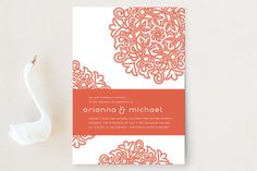 """""""Love Blossoms"""" - Classical Wedding Invitations in Persimmon by Guess What Design Studio."""