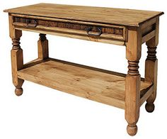Great behind the sofa or in any narrow space, this pine table is beautiful and functional. Its single, wide beveled-front drawer offers lots of storage. A thick shelf below and turned wooden legs complete its southwestern flair. Pine Coffee Table, Pine Table, Coffee Table With Storage, Table Storage, Coffee Tables, Storage Ideas, Rustic Pine Furniture, Home Decor Furniture, Rustic Wood