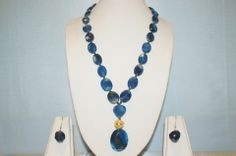 Gorgeous Faceted Dark Blue Onyx Cut Crystals Necklace with a Lovely Faceted Pendant. Assured Elegance for Any Occasion.