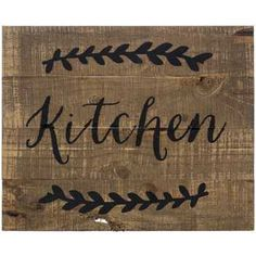 Kitchen Wood Pallet Sign - none of the ones in store looked remotely distressed like the picture, so I took a sanding block to one and it looks even better than online and I'm way happier with it now