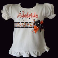 Girl Halloween shirt - I just love the idea of the waist with the embellishments and the sweet simple ruffle at the bottom and sleeves (not just for Halloween, for anything). Diy Halloween Shirts, Cute Halloween, Halloween Outfits, Holiday Outfits, Halloween Clothes, Halloween Stuff, Little Girl Outfits, Kids Outfits, Little Girl Halloween