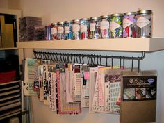 More ideas for craft storage :-). I think I would use clips instead of hooks but I like this idea.