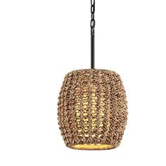 Troy Conga Tidepool Bronze Pendant with Havana Rope and Linen Shade How To Make Light, One Light, Transitional Pendant Lighting, Troy Lighting, Light Bulb Bases, Light Fixture, Tide Pools, Bronze Pendant, Hudson Valley Lighting