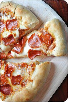 Stuffed Crust Pizza... very simple dough recipe. #pizza #pepperoni #crust
